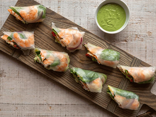 shrimp pesto rolls